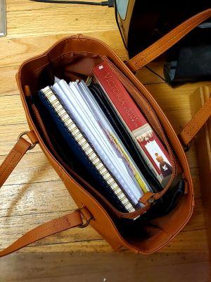 book in purse